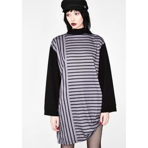 NEW! Disturbia Striped Mock Neck Long Sleeve Dress
